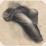 Драпировка окутывая ноги сидящего рисунке. Леонардо да Винчи (1452-1519)