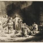 Иисус Христос исцеляет больную часть так называемых ста флоринов; 2 состояние. Рембрандт (1606-1669)