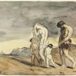 Человек и голая женщина, проведение двух детей: Каин проклял. Chasseriau Théodore (1819-1856)