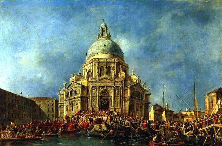 ГВАРДИ ФРАНЧЕСКО Дож Венеции прибывает 21 ноября на фейерверк в память окончания чумы 1630 г.