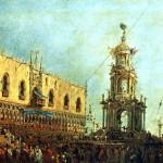 <b>ГВАРДИ ФРАНЧЕСКО Дож принимает участие в празднествах на Пьяццетта в Великий Чет...</b>
