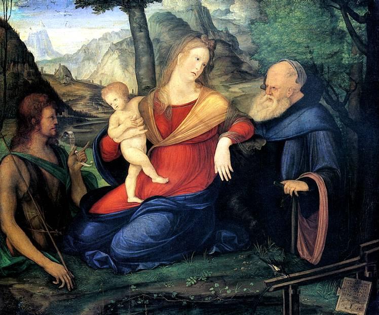 БАРБАРИ ЯКОПО ДЕ Мадонна с младенцем и со святыми Иоанном Крестителем и аббатом Антонием, известная как Мадонна у фонтана