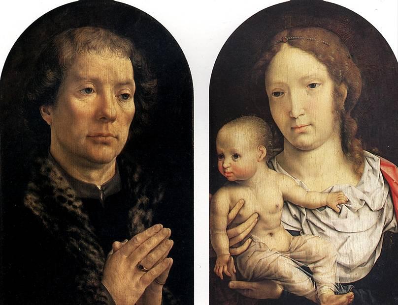 ГОССАРТ ЯН, ПРОЗВАННЫЙ МАБЮЗЕ Диптих Каронделе: Ян Каронделе (слева) и Мадонна с младенцем (справа), 1517