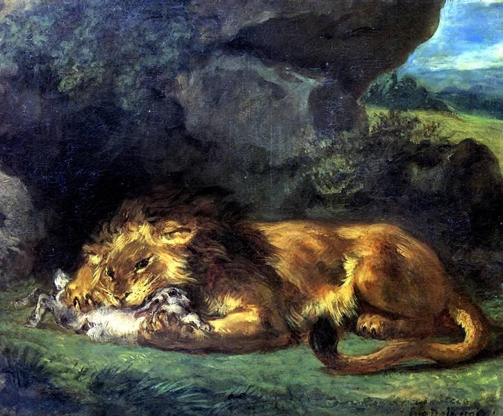 ДЕЛАКРУА ЭЖЕН Лев, пожирающий кролика