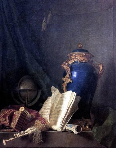 ДЕЛАПОРТ АНРИ ОРАС РОЛАН Натюрморт с лазуритовой вазой, глобусом и волынкой