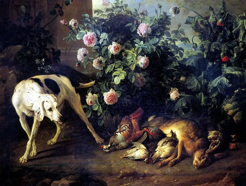 ДЕПОРТ ФРАНСУА Натюрморт с собакой и битой дичью у розового куста, 1724