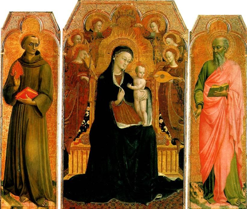 ДЖОВАННИ СТЕФАНО ДИ, ПРОЗВАННЫЙ САССЕТТА Мадонна с младенцем на троне в окружении шести ангелов, со святыми Антонием Падуанским и Иоанном Евангелистом
