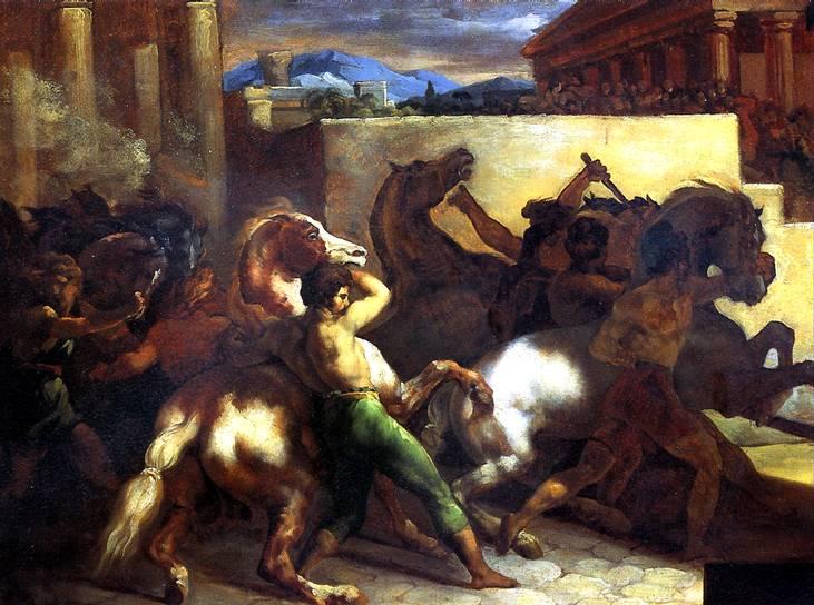 ЖЕРИКО ТЕОДОР Бег свободных лошадей в Риме, 1817