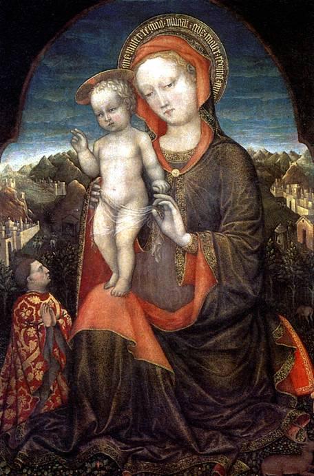 БЕЛЛИНИ ЯКОПО Мадонна с младенцем и с донатором Лионелло д' Эсте