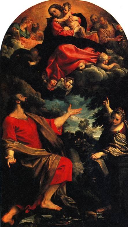 КАРРАЧЧИ АННИБАЛЕ Мадонна, являющаяся св. Луке и св. Екатерине, 1592.