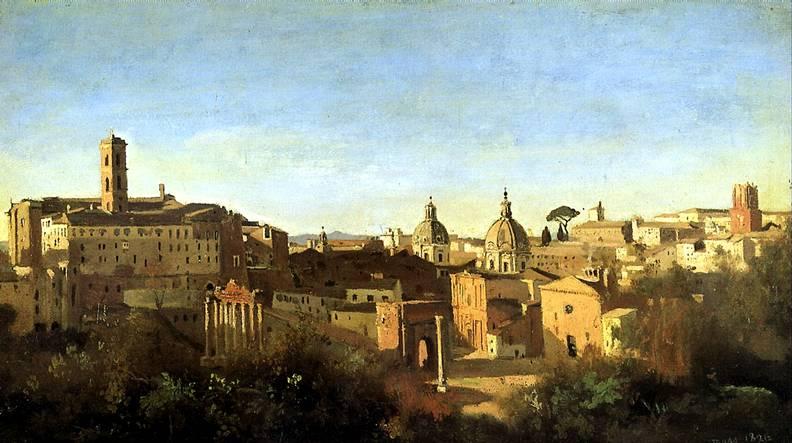 КОРО ЖАН БАТИСТ КАМИЛЬ Вид Форума от садов Фарнезе, 1826