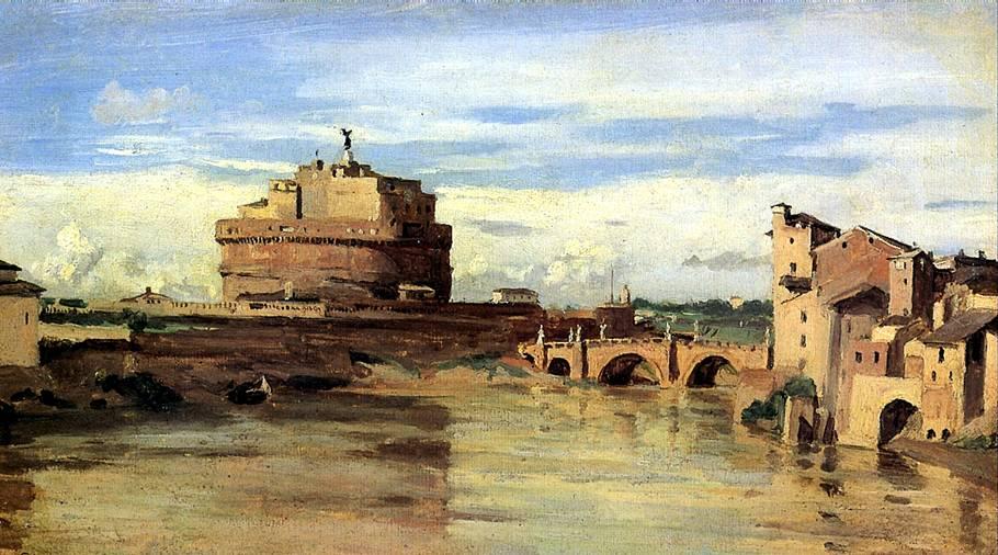 КОРО ЖАН БАТИСТ КАМИЛЬ Замок святого Ангела и Тибр в Риме