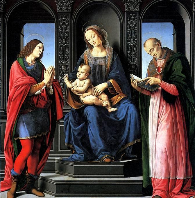 КРЕДИ ЛОРЕНЦО ДИ Мадонна с младенцем и святыми Юлианом и Николаем Мирликийским