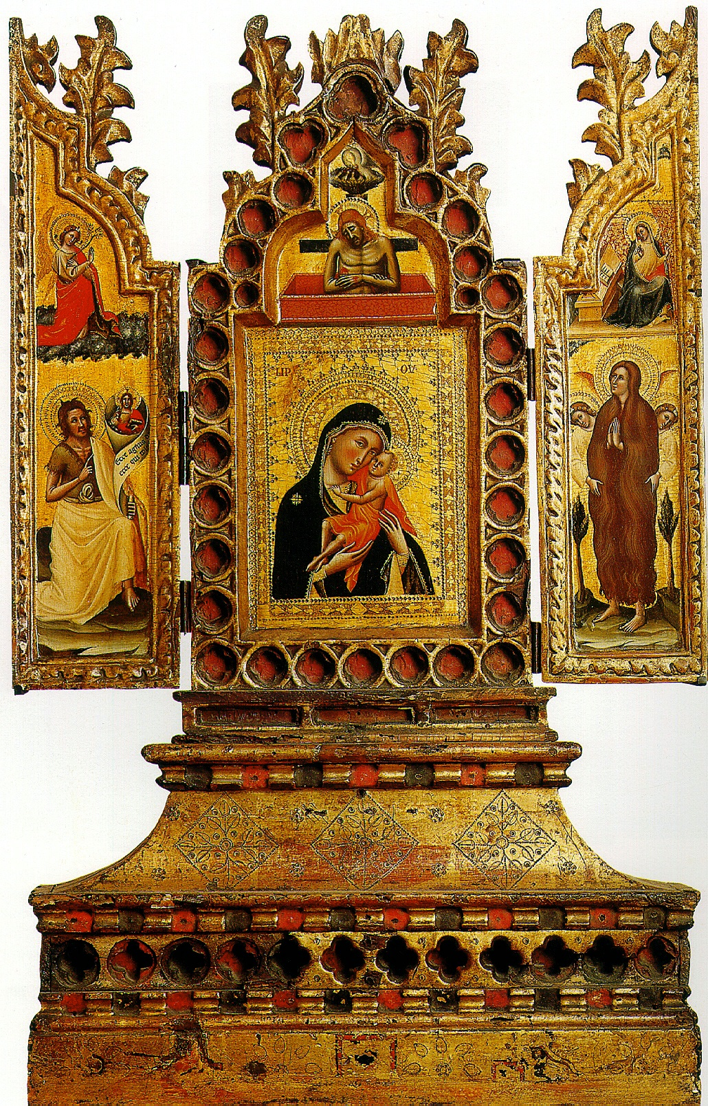 КРОЧЕФИССИ СИМОНЕ ДЕИ (МАСТЕР РАСПЯТИЙ) Триптих с Богоматерью и младенцем, Благовещением и святыми. XIV В.
