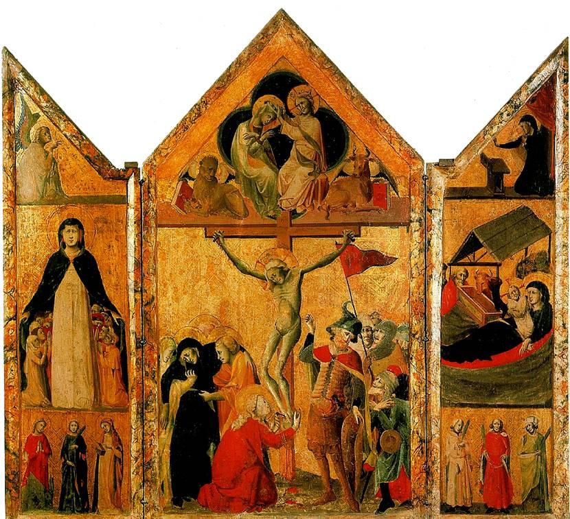 БОЛОНСКАЯ ШКОЛА Триптих с Распятием, Коронованием Марии, Благовещением, Мадонной Мизерикордия (Марией-заступницей), Рождеством и шестью святыми. 1333