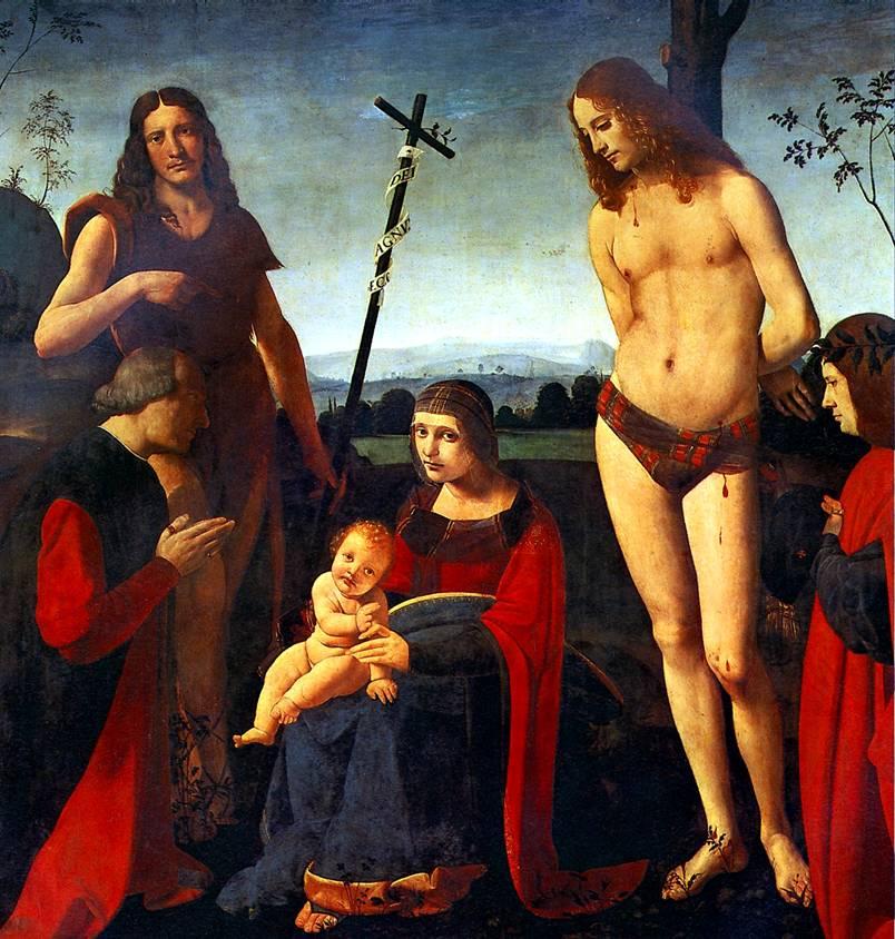 БОЛЬТРАФФИО ДЖОВАННИ АНТОНИО Мадонна с младенцем, святыми Иоанном Крестителем и Себастьяном и двумя донаторами
