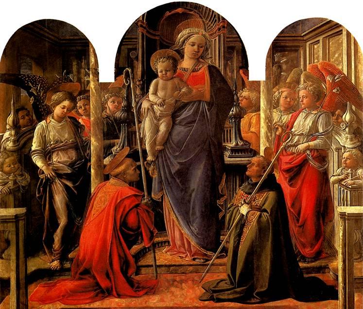 ЛИППИ ФИЛИППО Мадонна с младенцем в окружении ангелов, со святыми Фредиано и Августином — Алтарь Барбадори