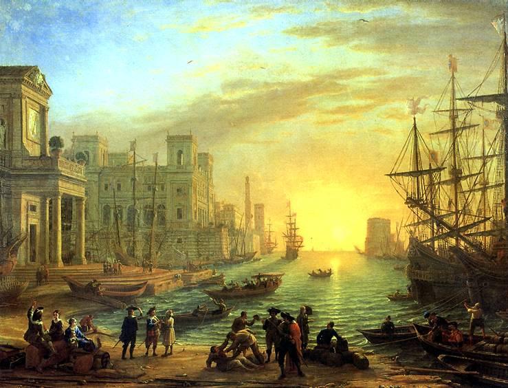 ЛОРРЕН Морская гавань при заходе солнца, 1639