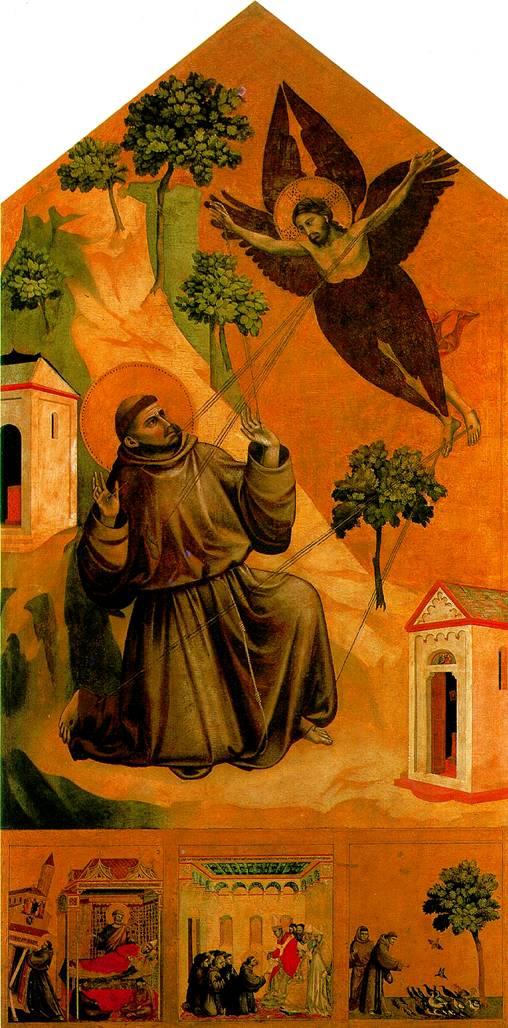 БОНДОНЕ ДЖОТТО ДИ Св. Франциск, получающий стигматы, с тремя сценами из жития
