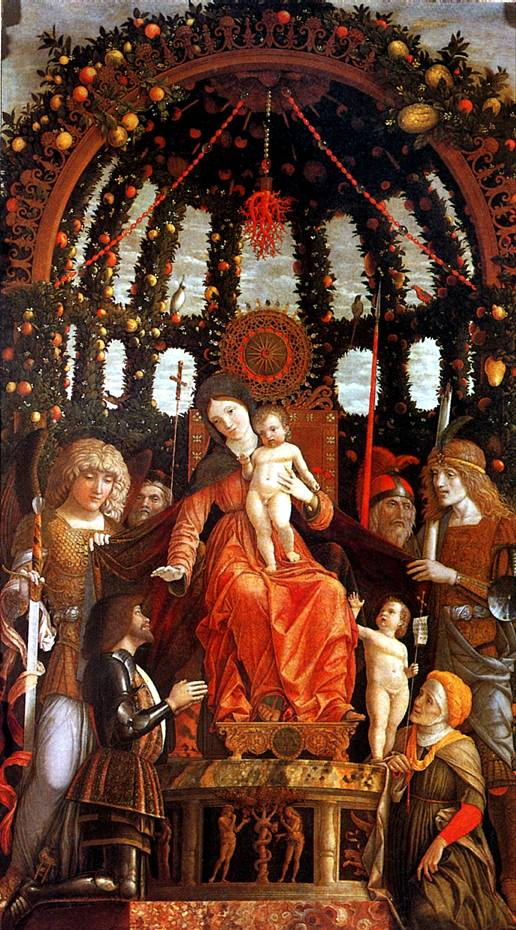 МАНТЕНЬЯ Мадонна с младенцем в окружении шести святых, с донатором Джанфранческо II Гонзага, известная как Мадонна делла Витториа, 1495