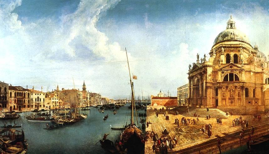 МАРИЕСКИ МИКЕЛЕ Вид на Большой канал и церковь Санта-Мария делла Салюте в Венеции