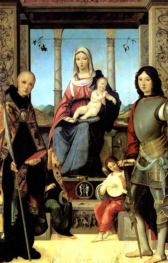 МАРМИТТА ФРАНЧЕСКО Мадонна с младенцем, со святыми Бенедиктом и Квентином и двумя ангелами