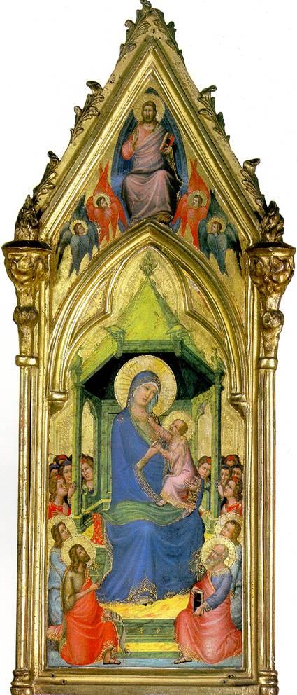 МАСТЕР КОДЕКСА СВ. ГЕОРГИЯ Богоматерь с младенцем на троне в окружении ангелов, св. Иоанна Крестителя, св. Петра и двух неизвестных святых