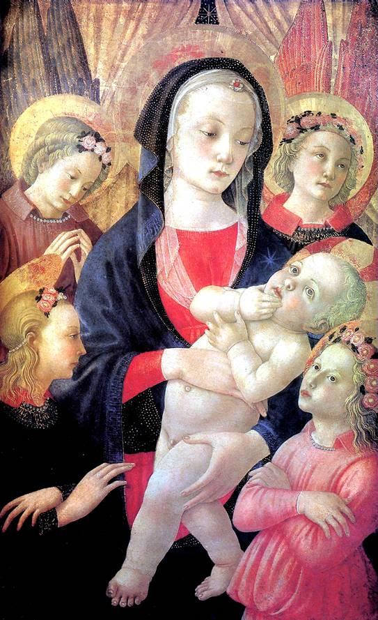 МАСТЕР РОЖДЕСТВА КАСТЕЛЛО Мадонна с младенцем в окружении четырех ангелов