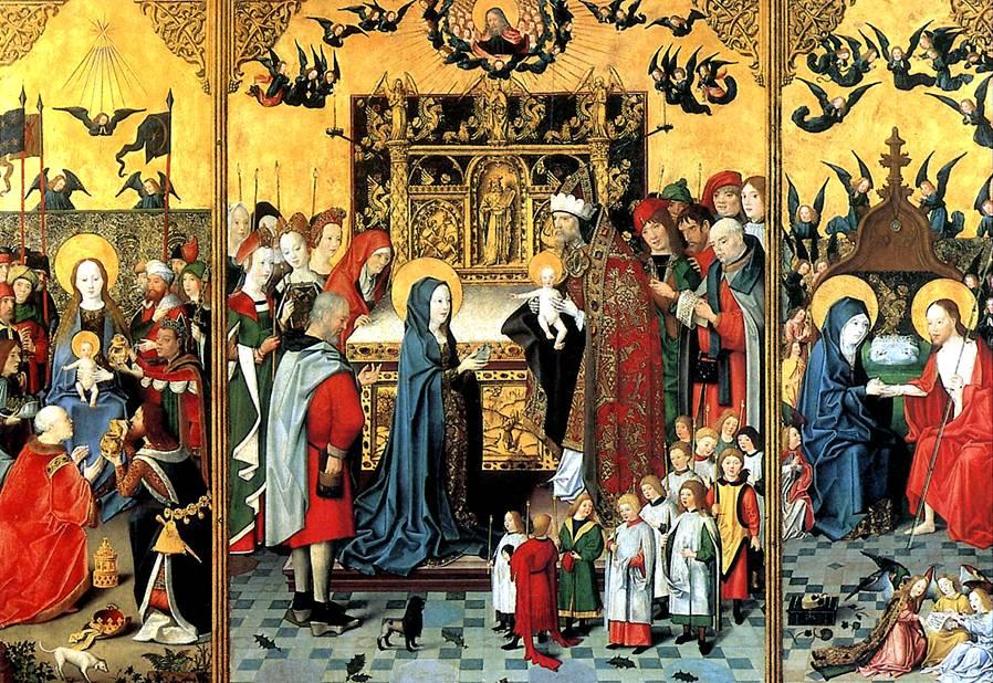МАСТЕР СВЯТОЙ РОДНИ Алтарь Семь радостей Богоматери: Поклонение волхвов, Принесение во храм, Христос является Марии