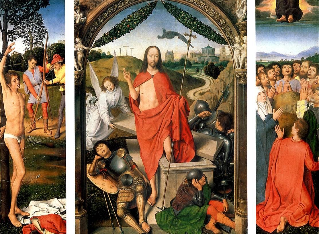 МЕМЛИНГ Воскресение с Мученичеством св. Себастьяна и Вознесением. Триптих