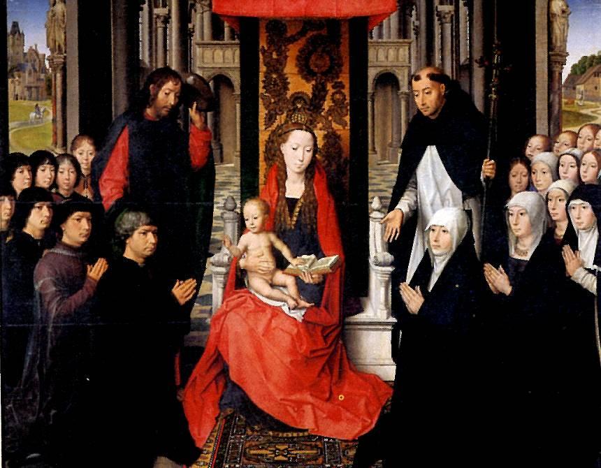 МЕМЛИНГ Мария с младенцем и со св. Иаковом и св. Домиником, как патронами донаторов и их семей, или Мадонна Жака Флорена