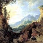 <b>МОМПЕР ЙОС ДЕ Пейзаж в горах с мостом и четырьмя всадниками</b>