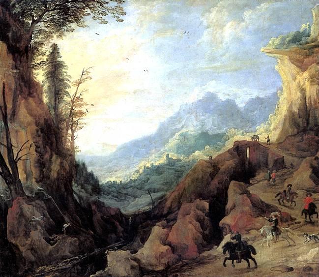 МОМПЕР ЙОС ДЕ Пейзаж в горах с мостом и четырьмя всадниками