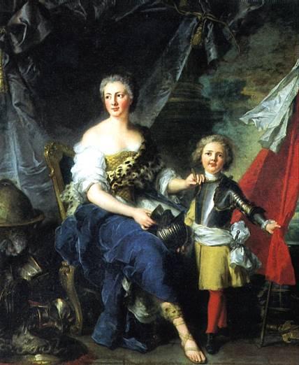 НАТЬЕ ЖАН МАРК Мадемуазель де Ламбес в виде Минервы, одевающая доспехи своему брату графу де Брион и наставляющая его военному искусству, 1732