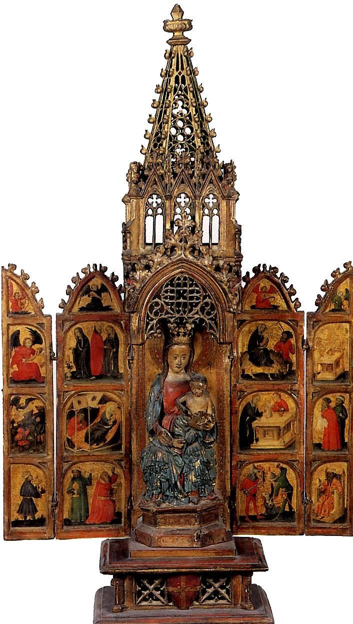 НИЖНЕРЕЙНСКИЙ МАСТЕР Переносной алтарь со сценами из жизни Богоматери и детства Христа