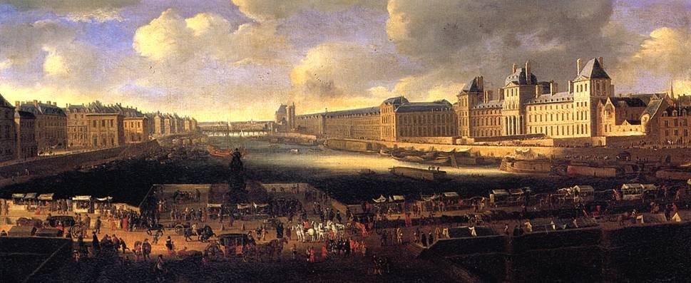 Панорама Парижа в XVII в. с видом на Лувр от Нового моста