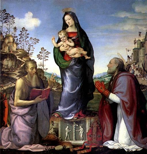 АЛЬБЕРТИНЕЛЛИ МАРИОТТО Мадонна с младенцем и со святыми Иеронимом и Зенобием, 1506 (в соавторстве с Франческо Франчабиджо)