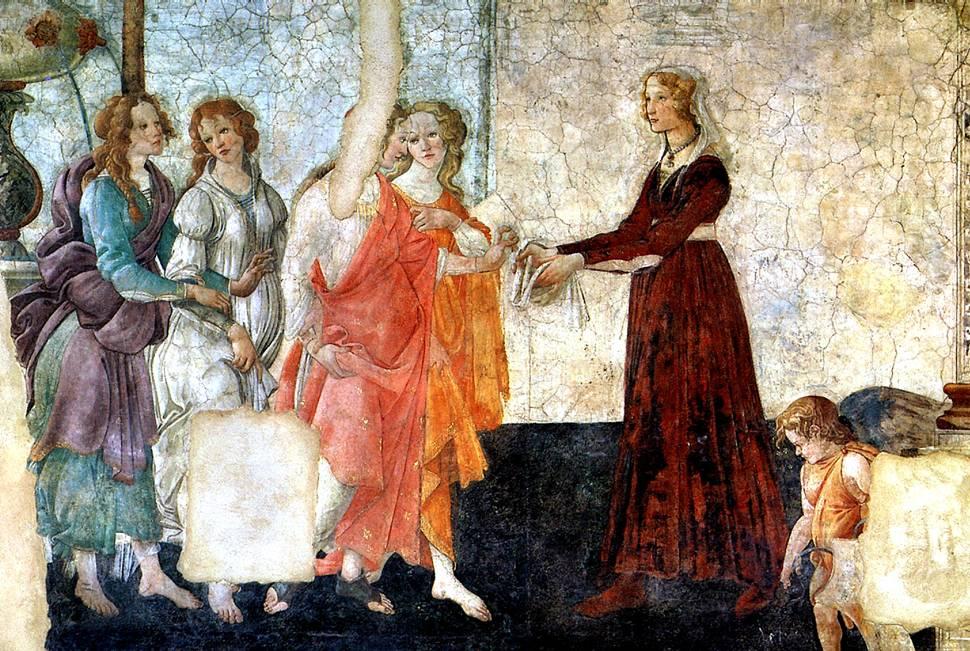 БОТТИЧЕЛЛИ Молодая женщина получает дары от Венеры и трех Граций