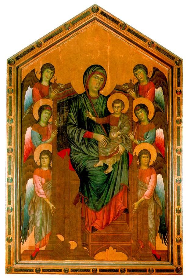ПЕПО ЧЕННИ ДИ, ПРОЗВАННЫЙ ЧИМАБУЭ Богоматерь с младенцем на троне в окружении ангелов