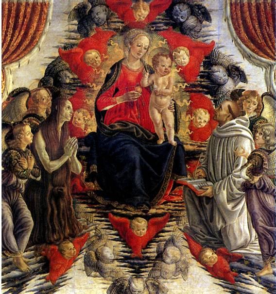 БОТТИЧИНИ ФРАНЧЕСКО Мадонна с младенцем в Славе со св. Марией Магдалиной, св. Бернардом и ангелами