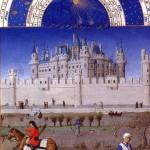 <b>Братья Лимбурги. Средневековый Лувр представлен на заднем плане изображенной сце...</b>