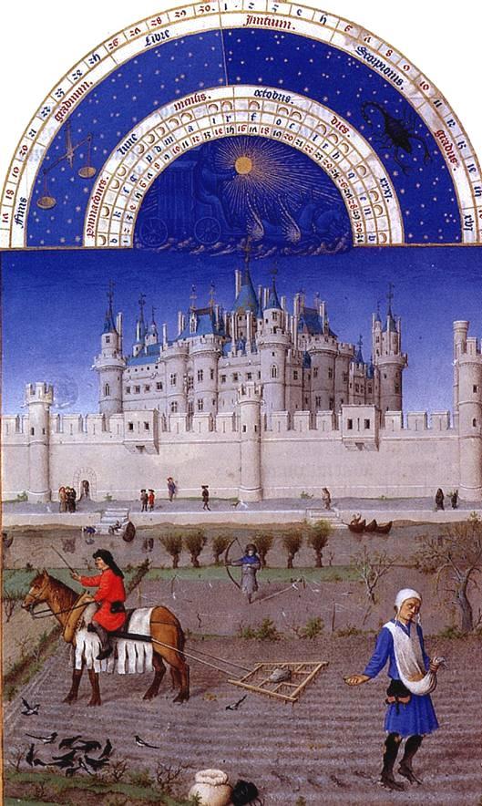 Братья Лимбурги. Средневековый Лувр представлен на заднем плане изображенной сцены, посвященной Октябрю