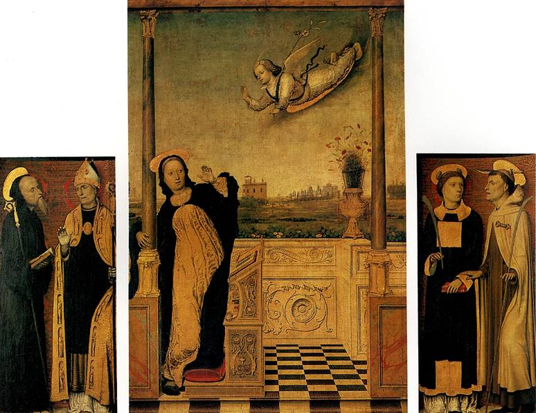 БРАЧЧЕСКО КАРЛО ДИ Благовещение со святыми. Триптих