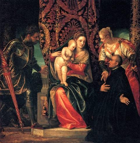 ВEPOHЕЗЕ Мадонна с младенцем, со святыми Юстином и Георгием и бенедиктинскнм монахом