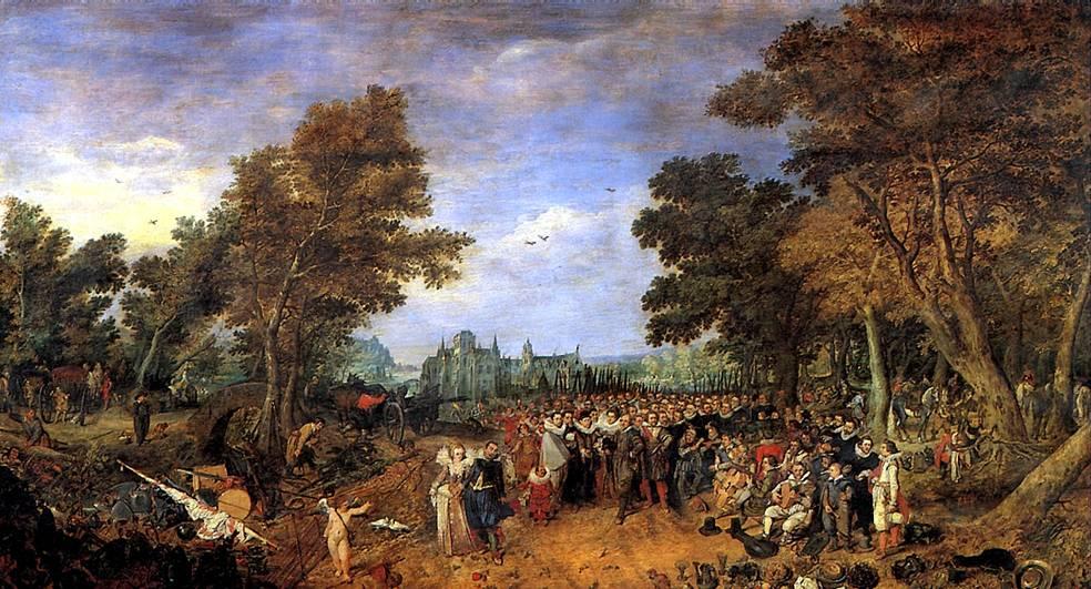ВАН ДЕ ВЕННЕ АДРИАН Аллегория перемирия 1609 года между эрцгерцогом Австрийским, правителем Южных Нидерландов, и генералом государств Северных Нидерландов, 1616