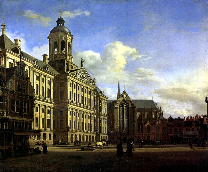 ВАН ДЕР ХЕЙДЕН ЯН Собор и новая городская ратуша в Амстердаме, 1668