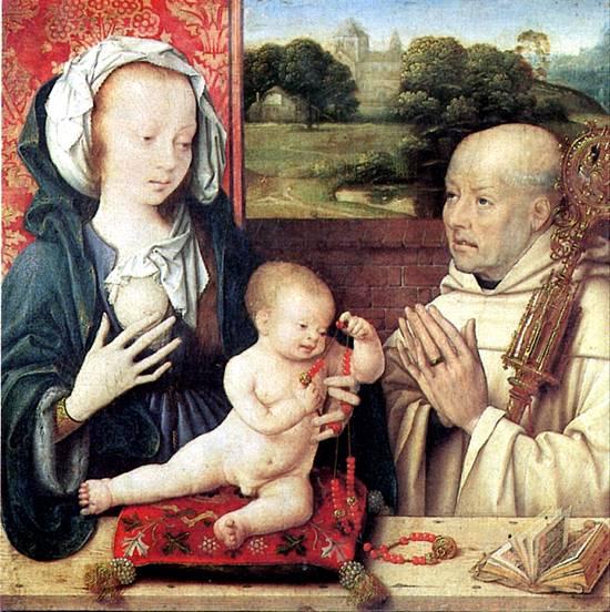ВАН КЛЕВЕ ЙОС Мадонна с младенцем и с донатором-доминиканцем