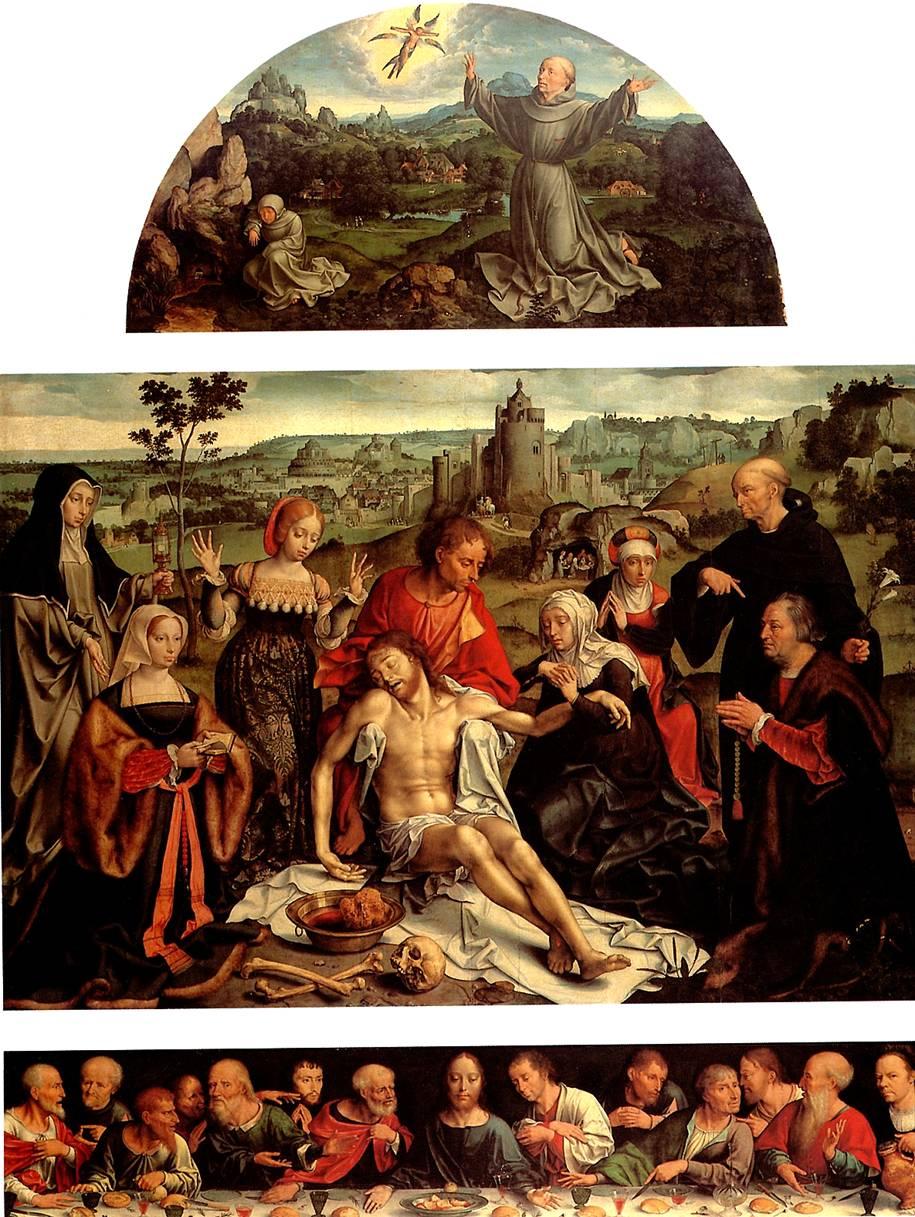 ВАН КЛЕВЕ ЙОС Оплакивание Христа с Тайной вечерей (пределла) и св. Франциском, получающим стигматы