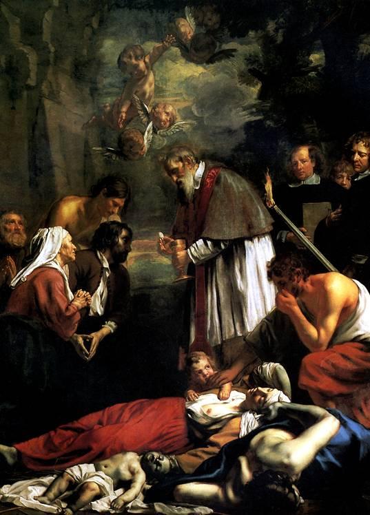 ВАН ОСТ МЛАДШИЙ, ЯКОБ Св. Макарий Гентский, причащающий во время чумы, 1673