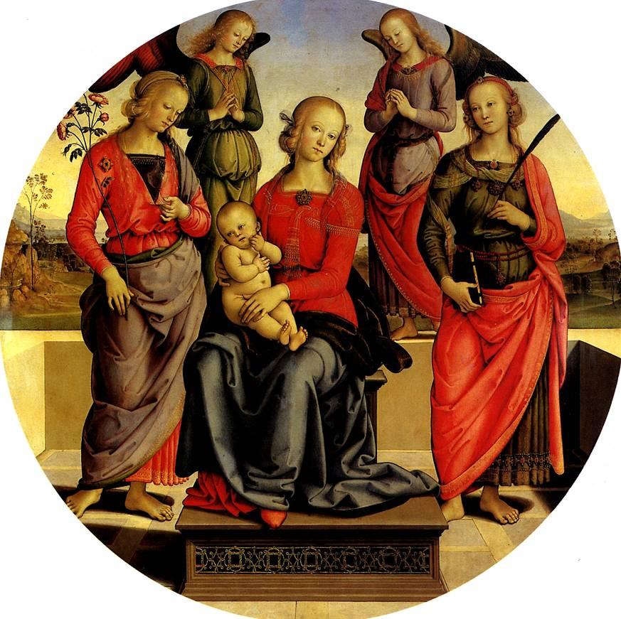 ПЕРУДЖИНО Мадонна с младенцем в окружении ангелов, св. Розы и св. Екатерины